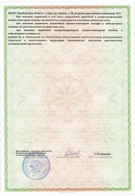 Приложение к лицензии на осуществление медицинской деятельности стр.2